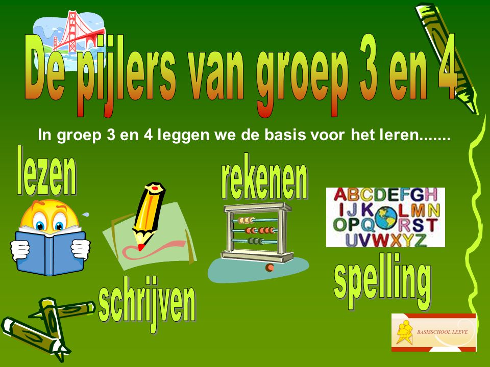 De pijlers van groep 3 en 4 lezen rekenen spelling schrijven