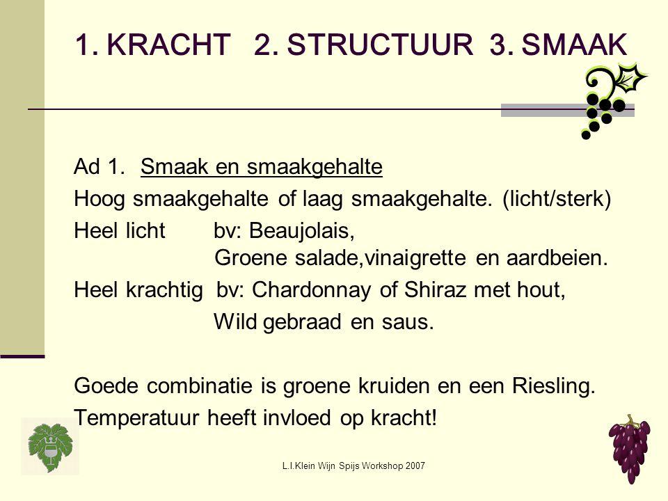 1. KRACHT 2. STRUCTUUR 3. SMAAK