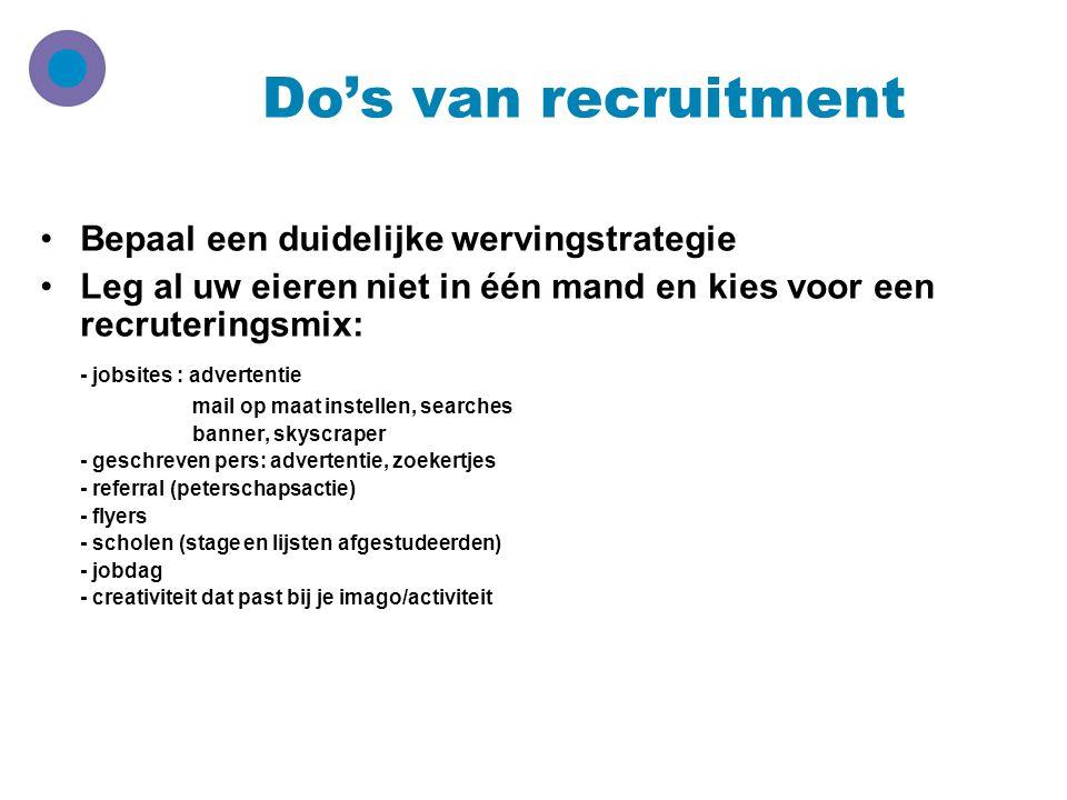 Do's van recruitment Bepaal een duidelijke wervingstrategie
