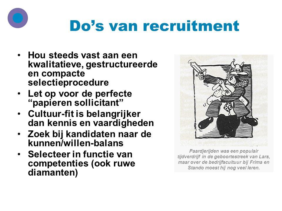 Do's van recruitment Hou steeds vast aan een kwalitatieve, gestructureerde en compacte selectieprocedure.