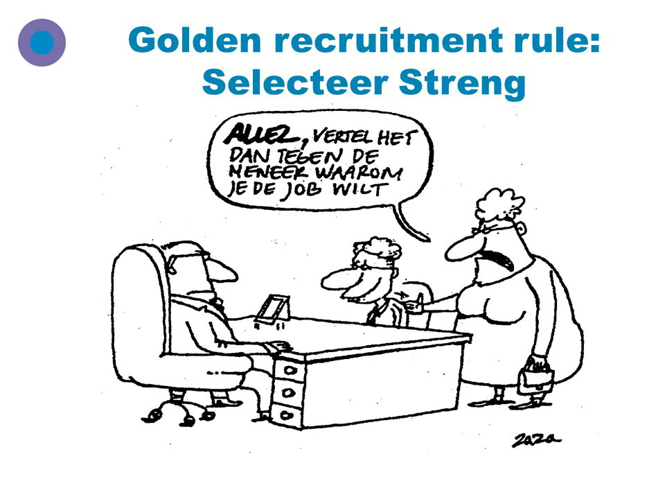 Golden recruitment rule: Selecteer Streng