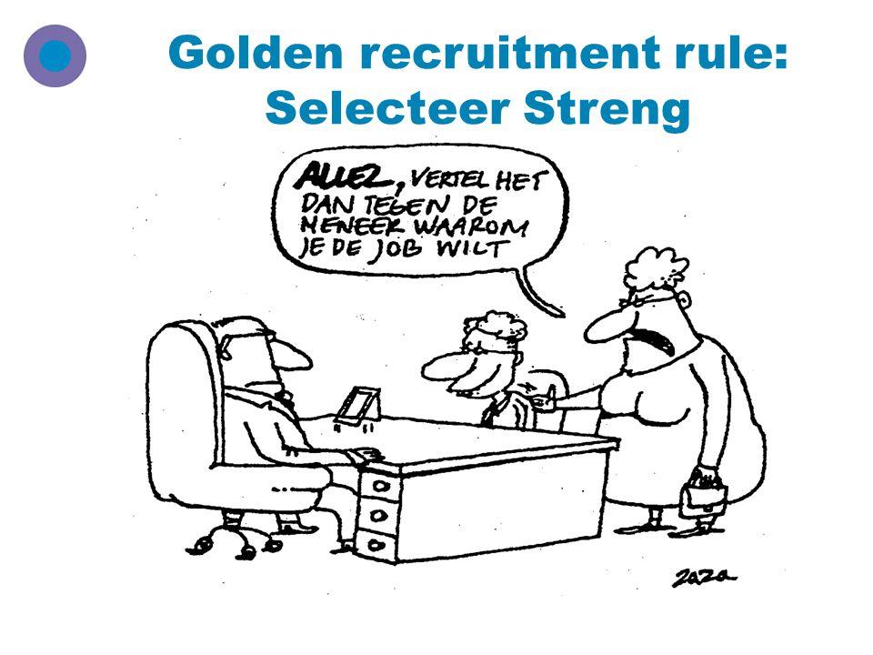 Golden recruitment rule: Selecteer Streng