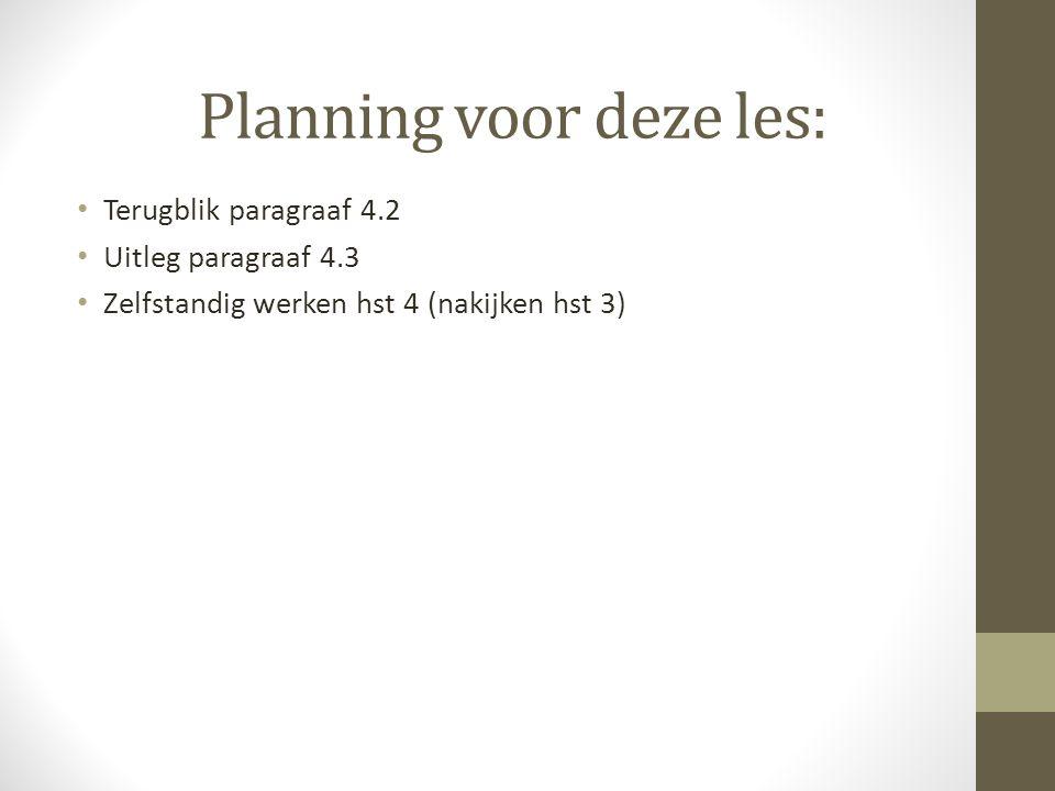 Planning voor deze les: