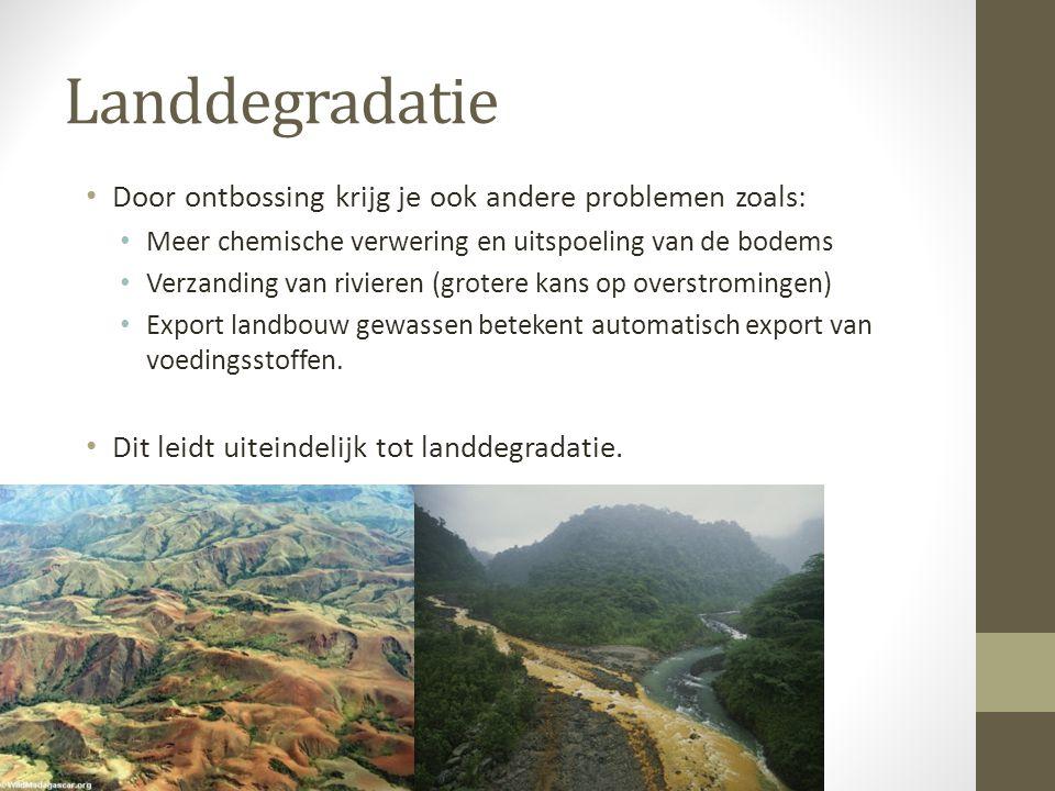 Landdegradatie Door ontbossing krijg je ook andere problemen zoals: