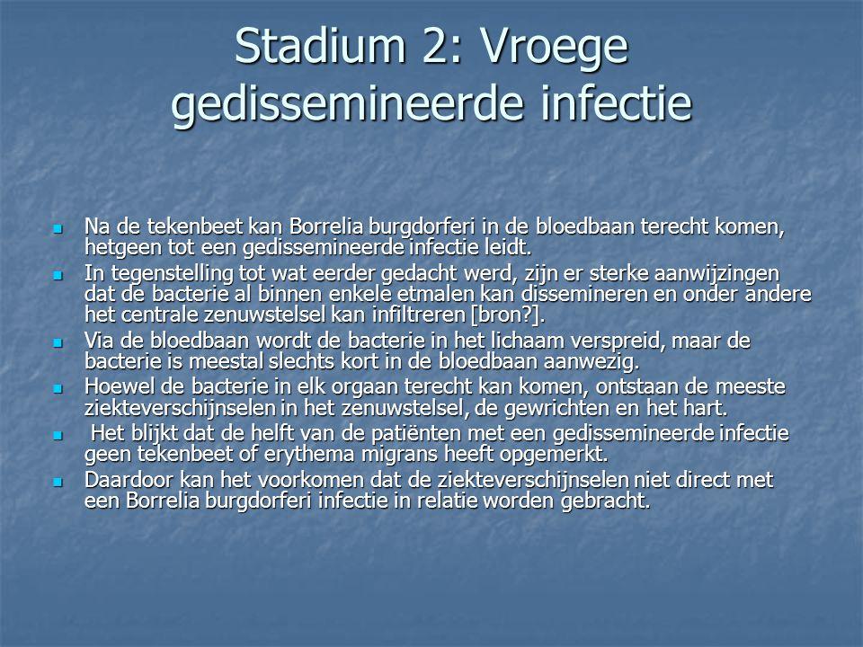 Stadium 2: Vroege gedissemineerde infectie