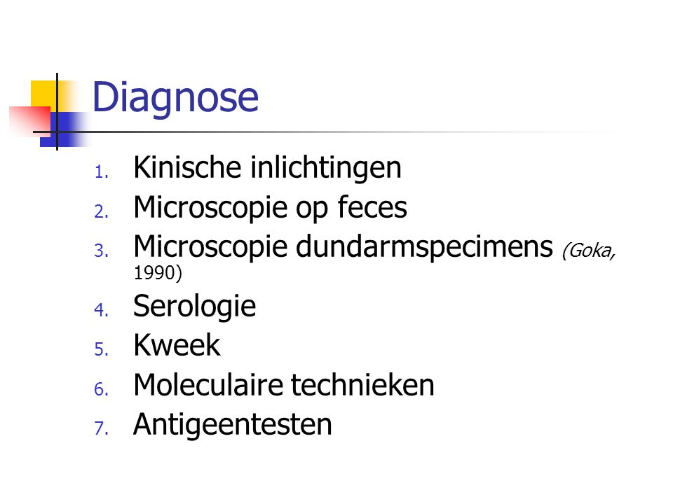 Diagnose Kinische inlichtingen Microscopie op feces