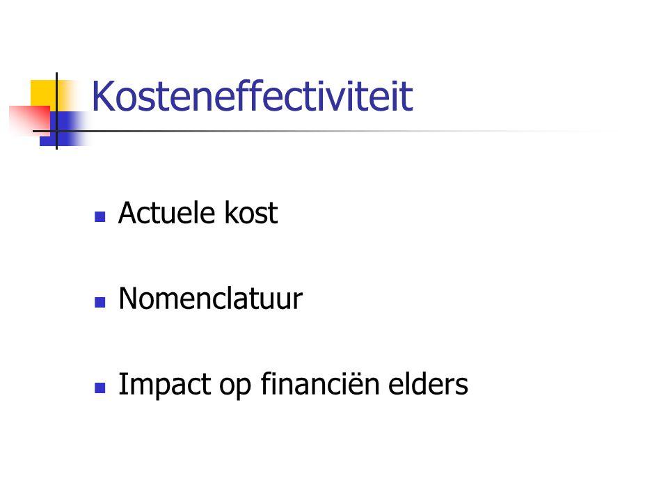 Kosteneffectiviteit Actuele kost Nomenclatuur