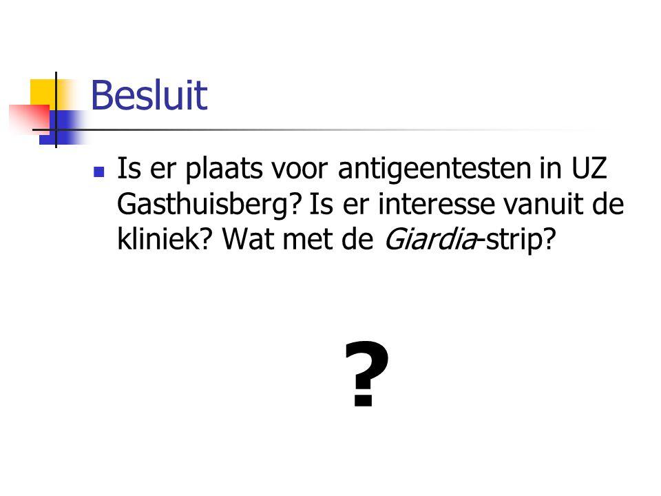 Besluit Is er plaats voor antigeentesten in UZ Gasthuisberg Is er interesse vanuit de kliniek Wat met de Giardia-strip