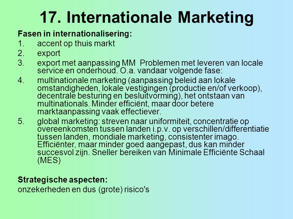 17. Internationale Marketing