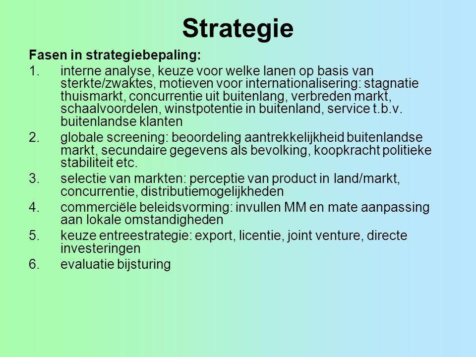Strategie Fasen in strategiebepaling: