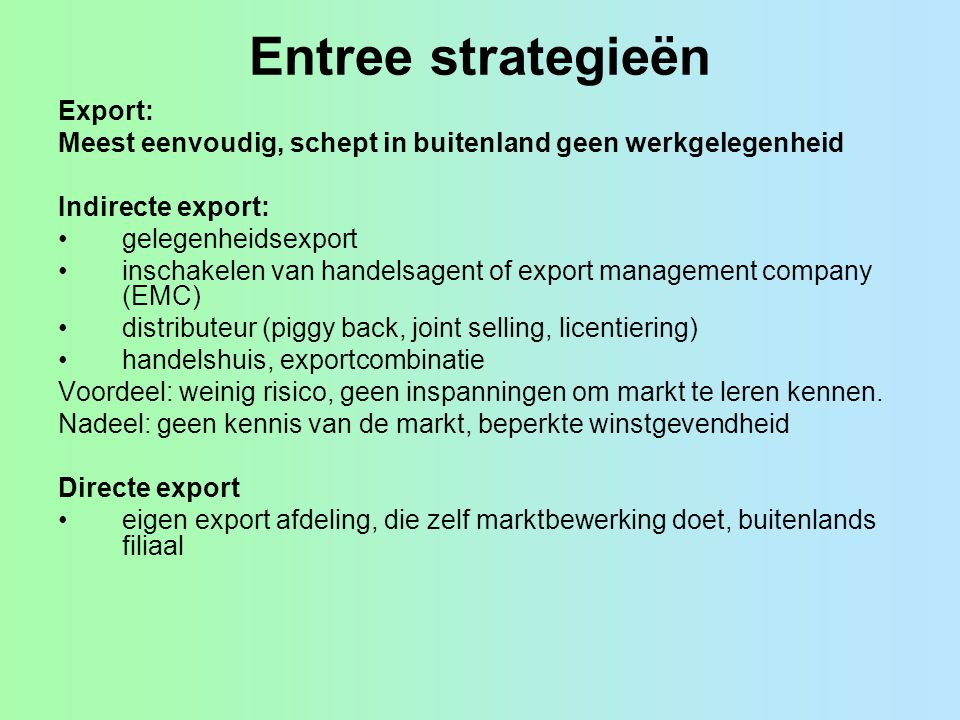 Entree strategieën Export:
