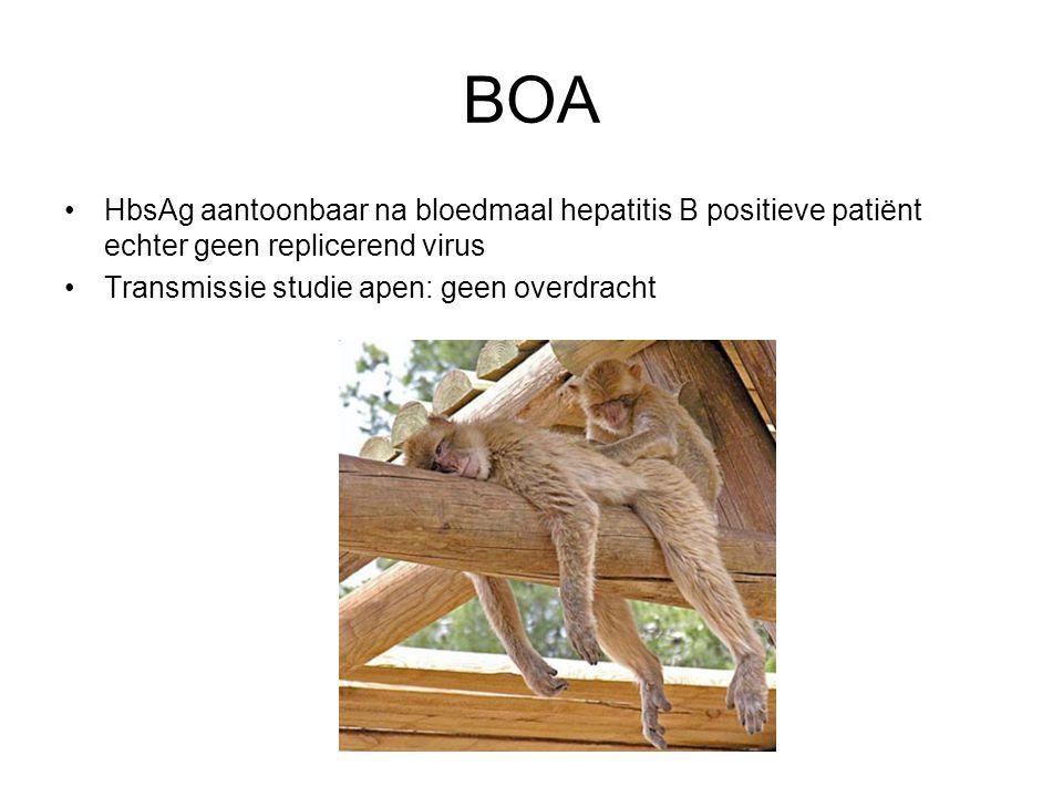BOA HbsAg aantoonbaar na bloedmaal hepatitis B positieve patiënt echter geen replicerend virus.
