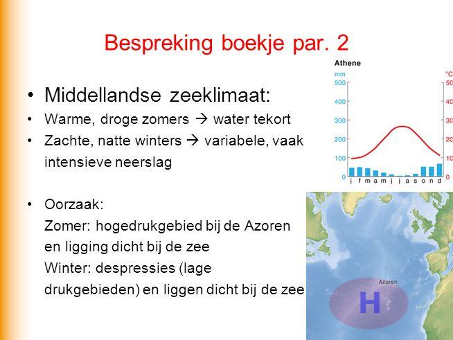 Bespreking boekje par. 2 Middellandse zeeklimaat: