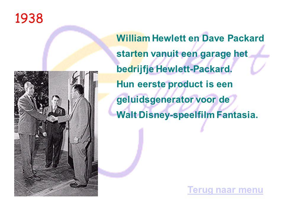 1938 William Hewlett en Dave Packard starten vanuit een garage het