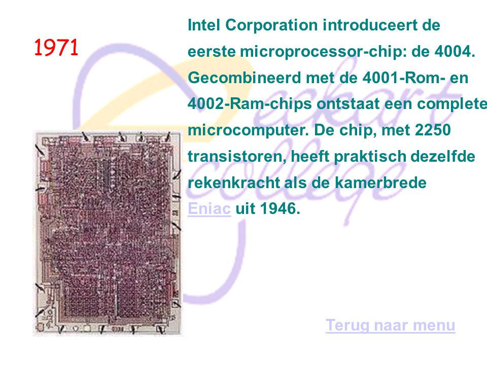 1971 Intel Corporation introduceert de