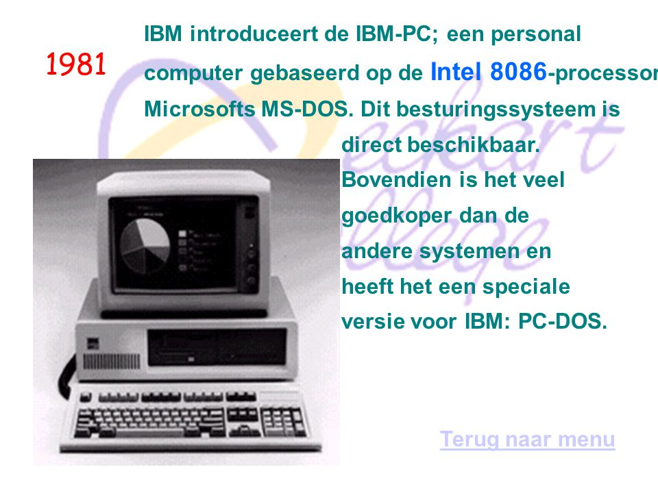 1981 IBM introduceert de IBM-PC; een personal