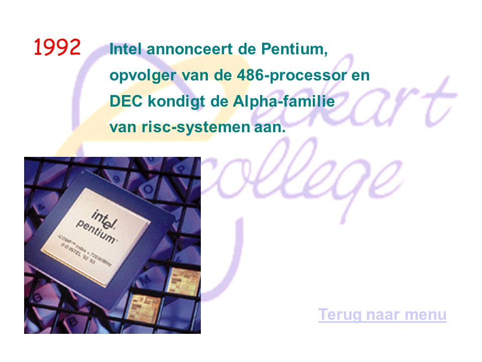 1992 Intel annonceert de Pentium, opvolger van de 486-processor en