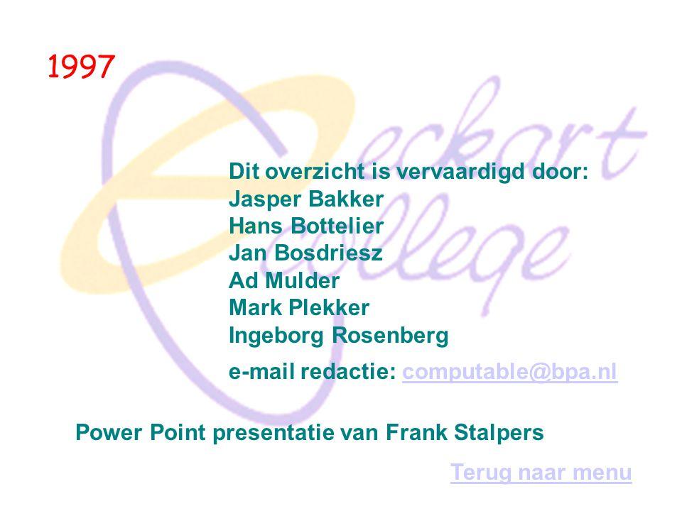 1997 Dit overzicht is vervaardigd door: Jasper Bakker Hans Bottelier Jan Bosdriesz Ad Mulder Mark Plekker Ingeborg Rosenberg.