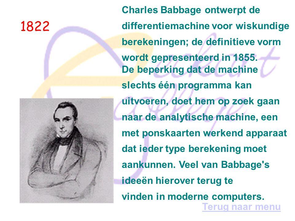 1822 Charles Babbage ontwerpt de differentiemachine voor wiskundige