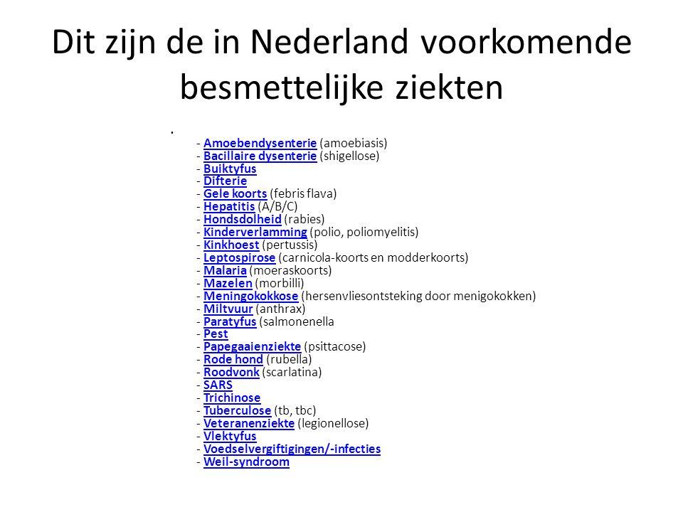Dit zijn de in Nederland voorkomende besmettelijke ziekten