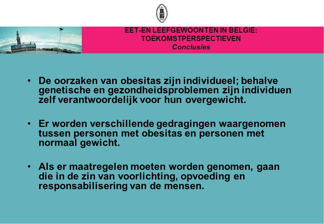 EET-EN LEEFGEWOONTEN IN BELGIE: TOEKOMSTPERSPECTIEVEN Conclusies