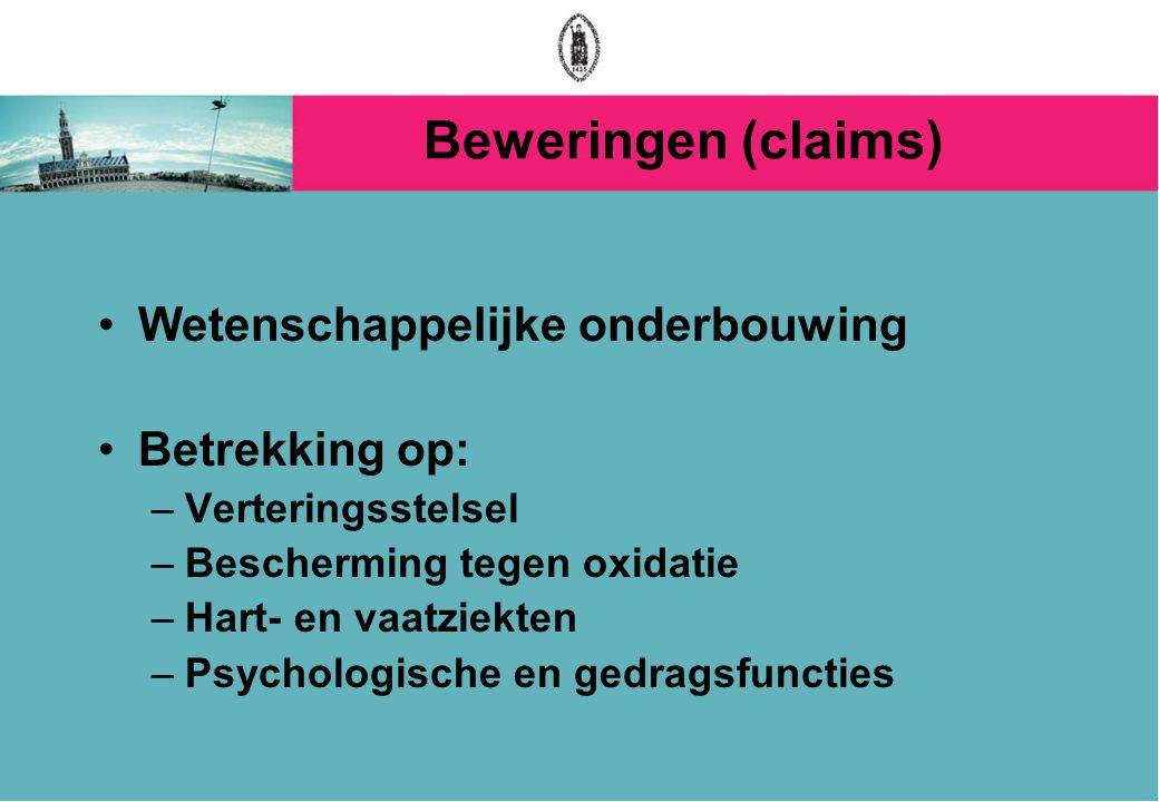 Beweringen (claims) Wetenschappelijke onderbouwing Betrekking op: