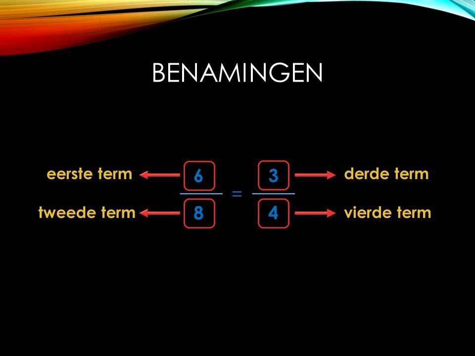 Benamingen eerste term 6 8 = 4 3 derde term tweede term vierde term