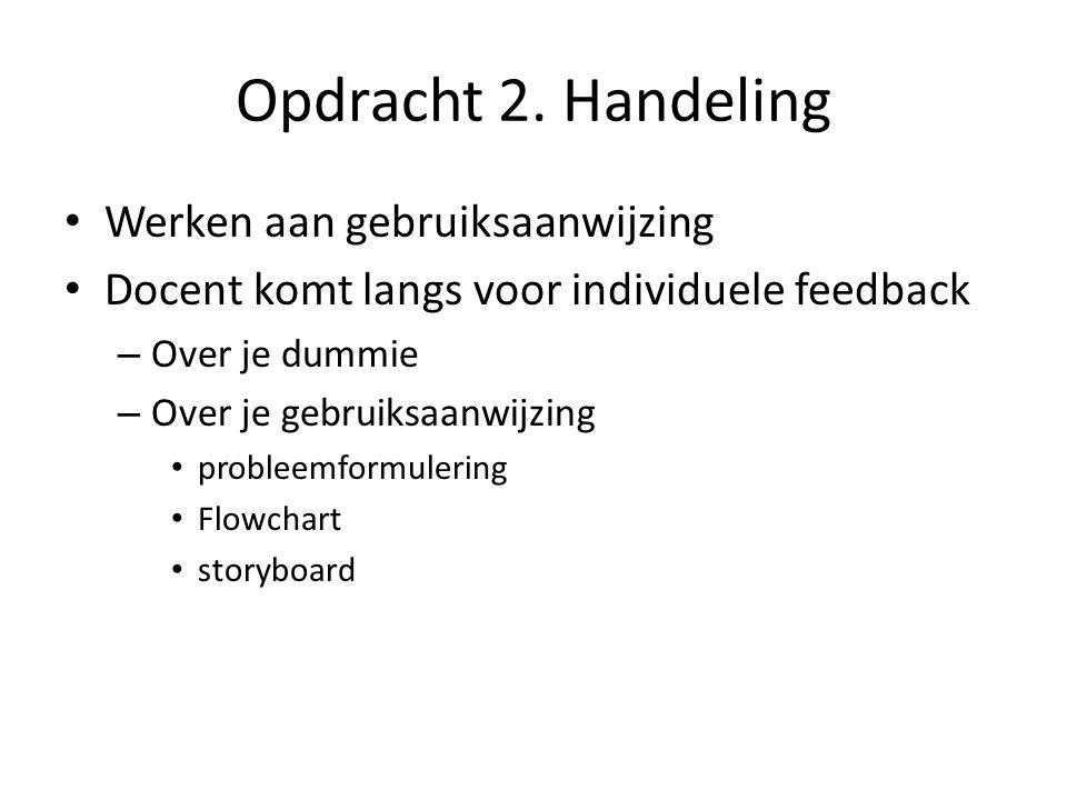 Opdracht 2. Handeling Werken aan gebruiksaanwijzing