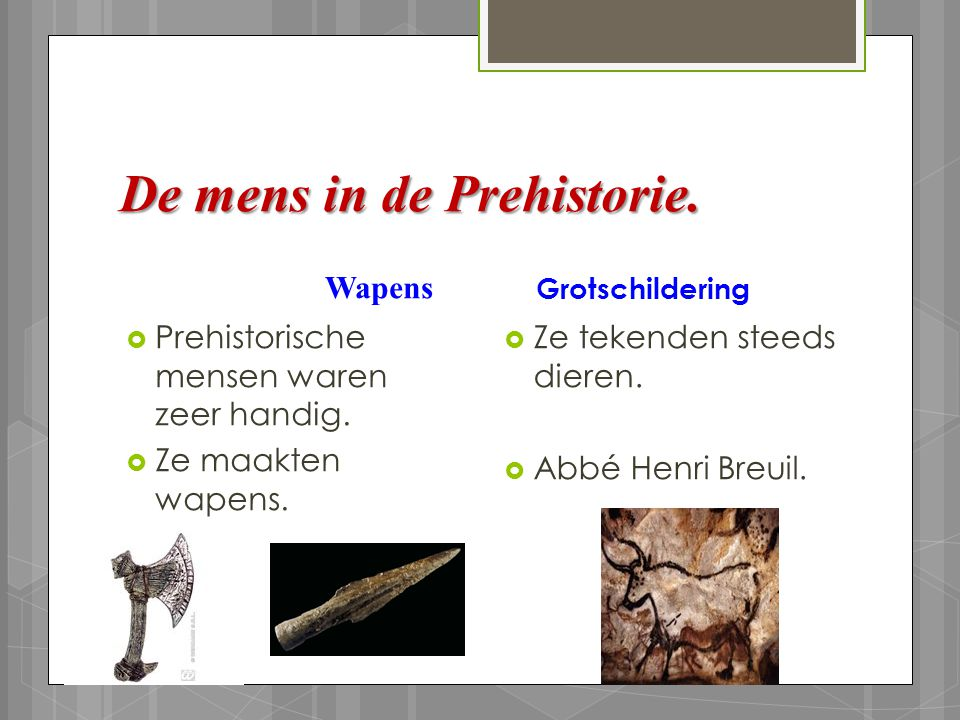 De mens in de Prehistorie.