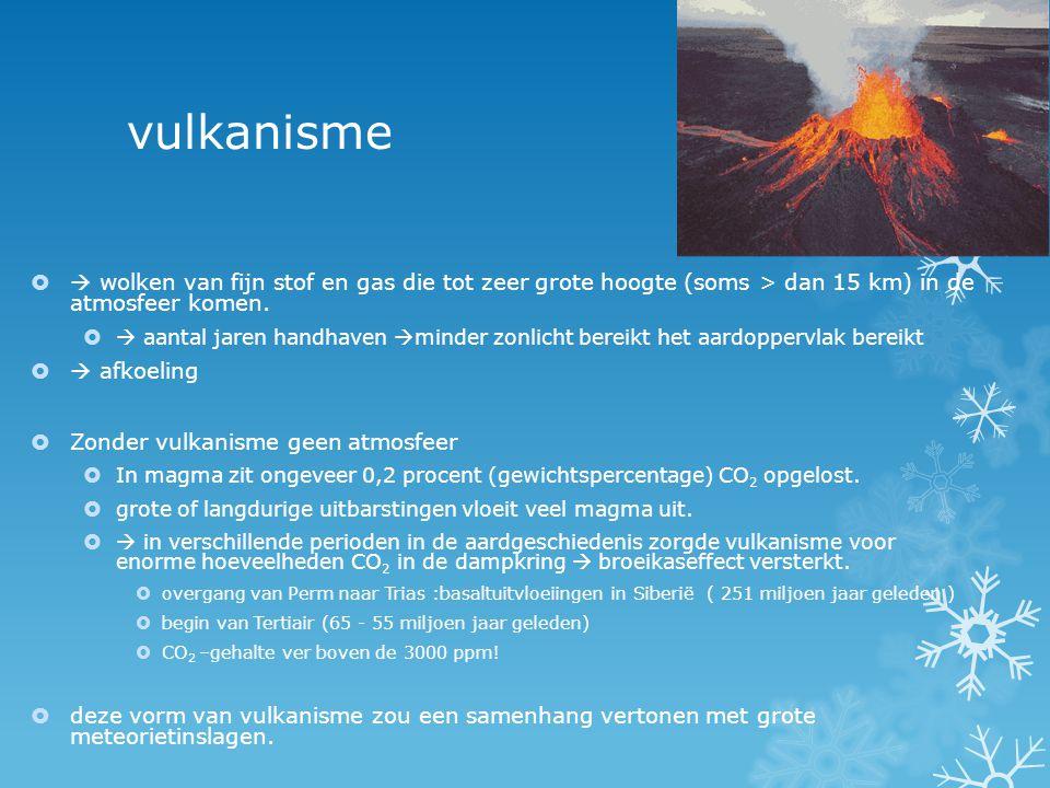 vulkanisme  wolken van fijn stof en gas die tot zeer grote hoogte (soms > dan 15 km) in de atmosfeer komen.
