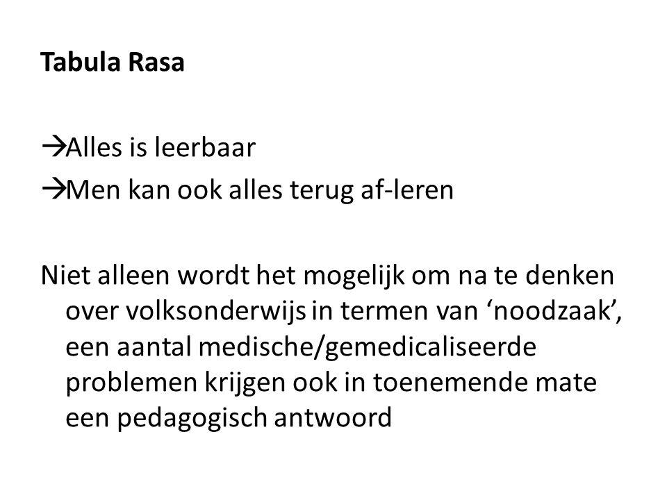 Tabula Rasa Alles is leerbaar. Men kan ook alles terug af-leren.