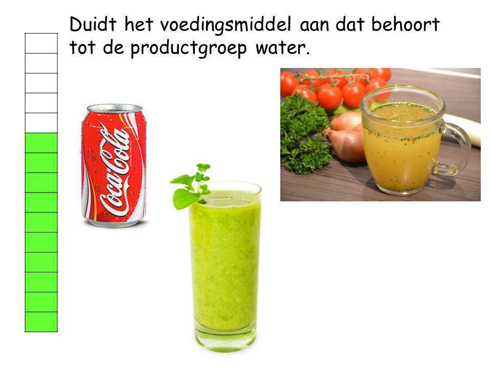 Duidt het voedingsmiddel aan dat behoort tot de productgroep water.