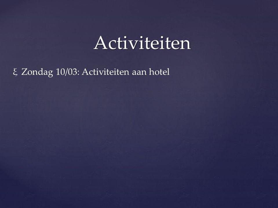 Activiteiten Zondag 10/03: Activiteiten aan hotel