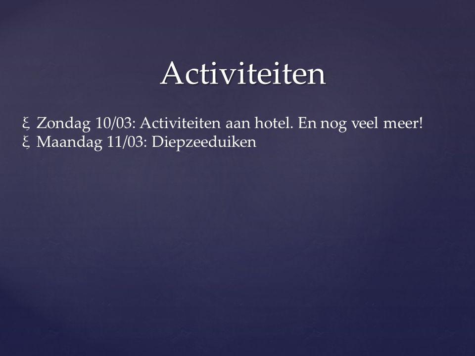 Activiteiten Zondag 10/03: Activiteiten aan hotel. En nog veel meer!