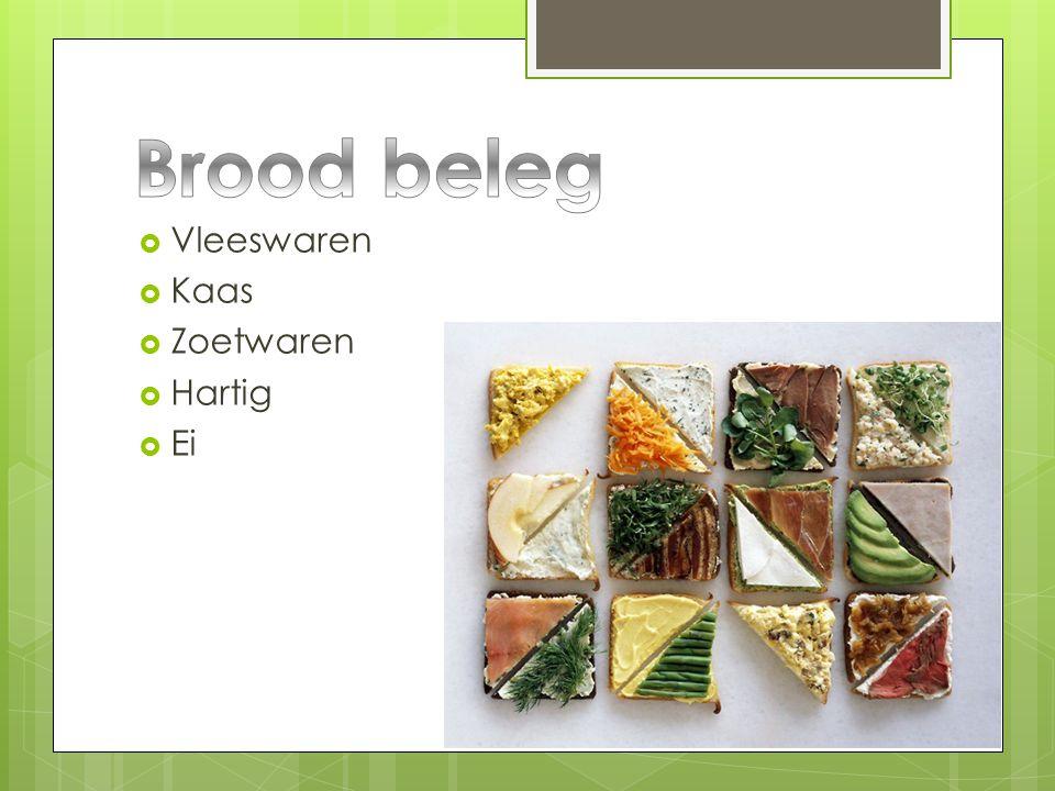 Brood beleg Vleeswaren Kaas Zoetwaren Hartig Ei