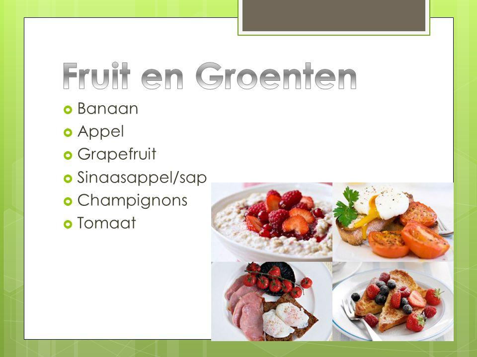 Fruit en Groenten Banaan Appel Grapefruit Sinaasappel/sap Champignons