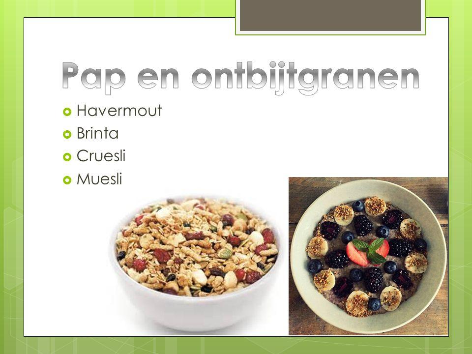 Pap en ontbijtgranen Havermout Brinta Cruesli Muesli
