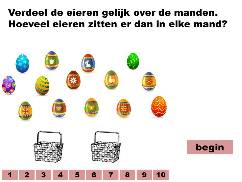 Verdeel de eieren gelijk over de manden