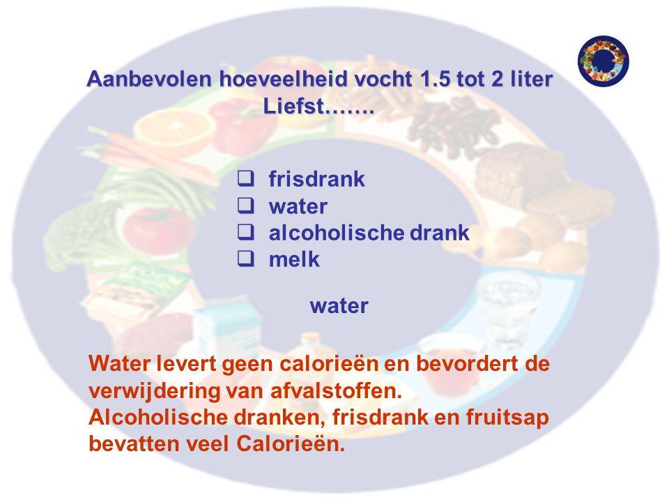Aanbevolen hoeveelheid vocht 1.5 tot 2 liter Liefst…….