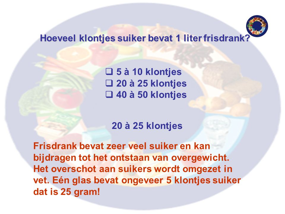 Hoeveel klontjes suiker bevat 1 liter frisdrank