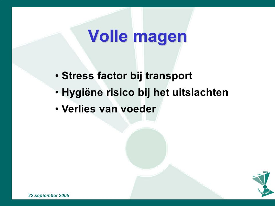 Volle magen Stress factor bij transport