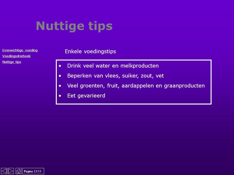 Nuttige tips Enkele voedingstips Drink veel water en melkproducten