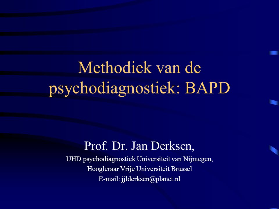 Methodiek van de psychodiagnostiek: BAPD