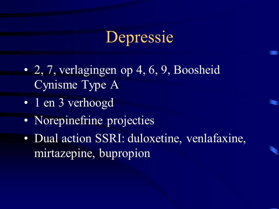 Depressie 2, 7, verlagingen op 4, 6, 9, Boosheid Cynisme Type A