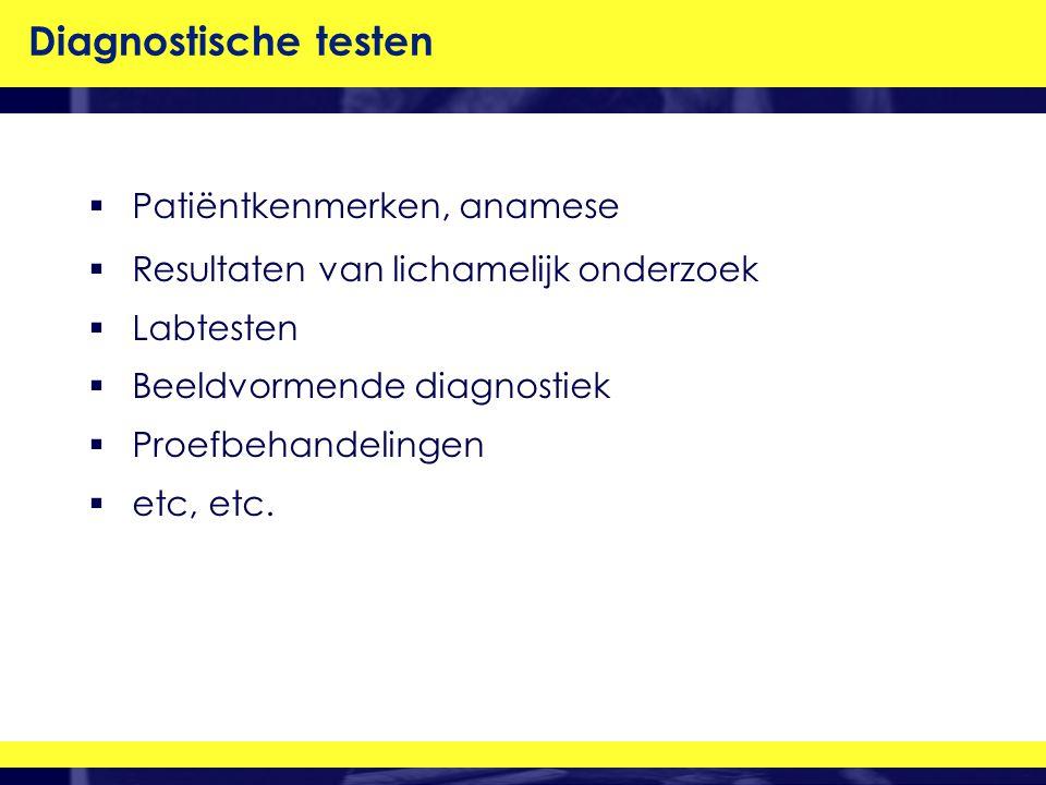 Diagnostische testen Patiëntkenmerken, anamese