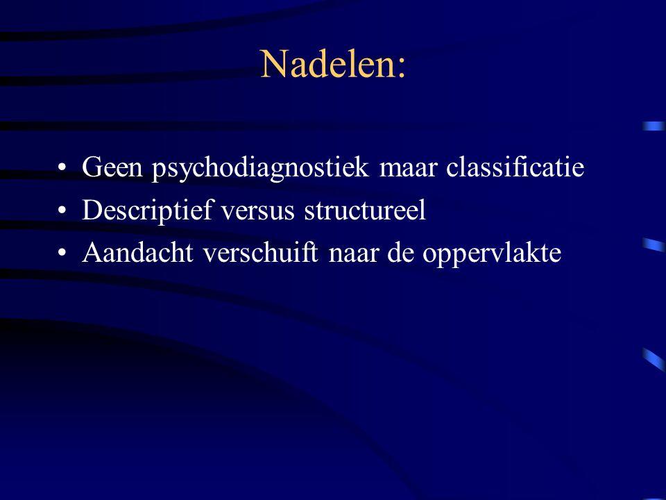 Nadelen: Geen psychodiagnostiek maar classificatie