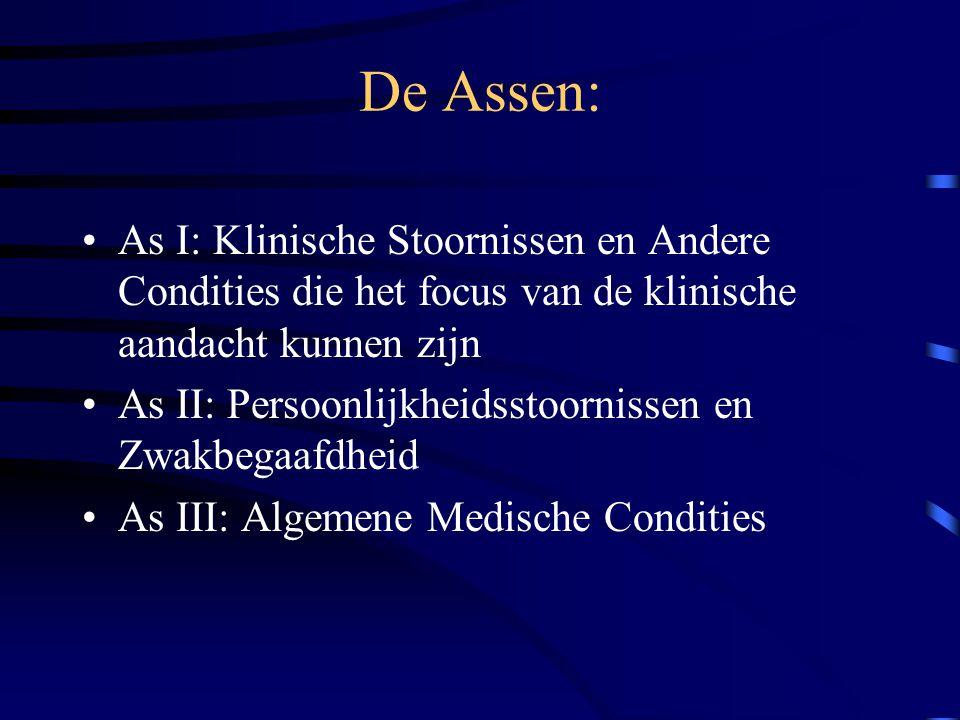 De Assen: As I: Klinische Stoornissen en Andere Condities die het focus van de klinische aandacht kunnen zijn.