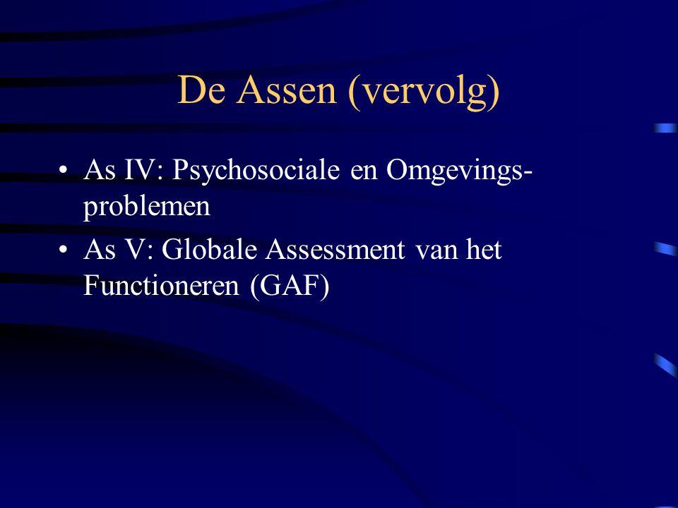 De Assen (vervolg) As IV: Psychosociale en Omgevings- problemen