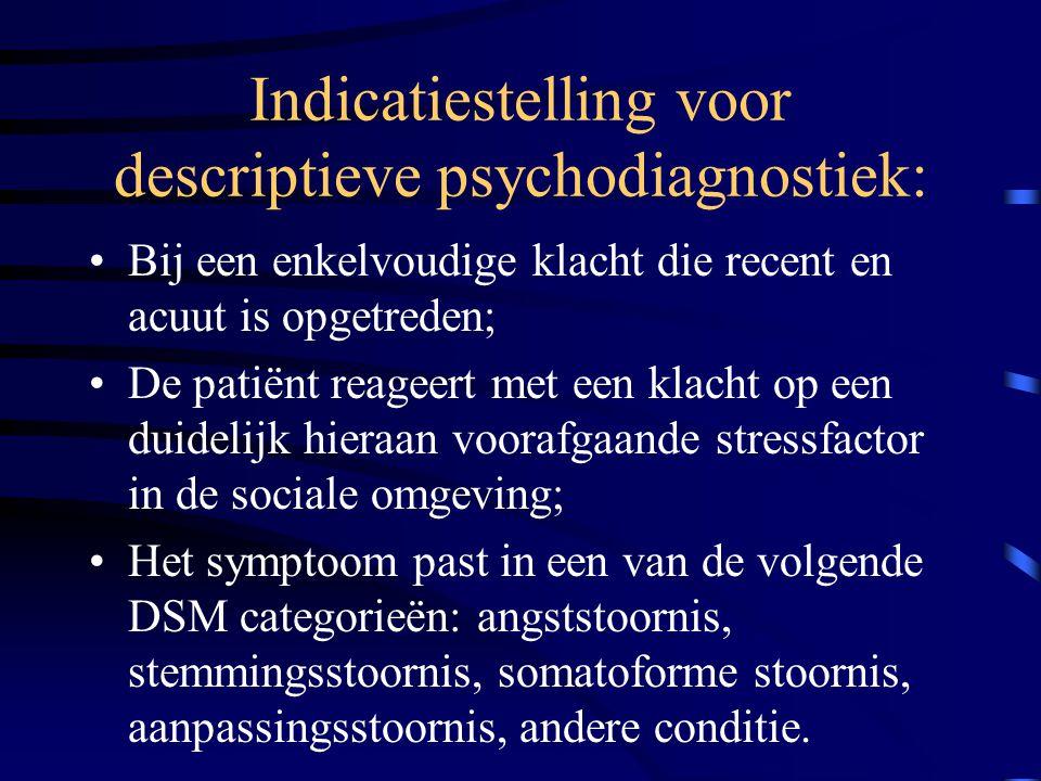 Indicatiestelling voor descriptieve psychodiagnostiek: