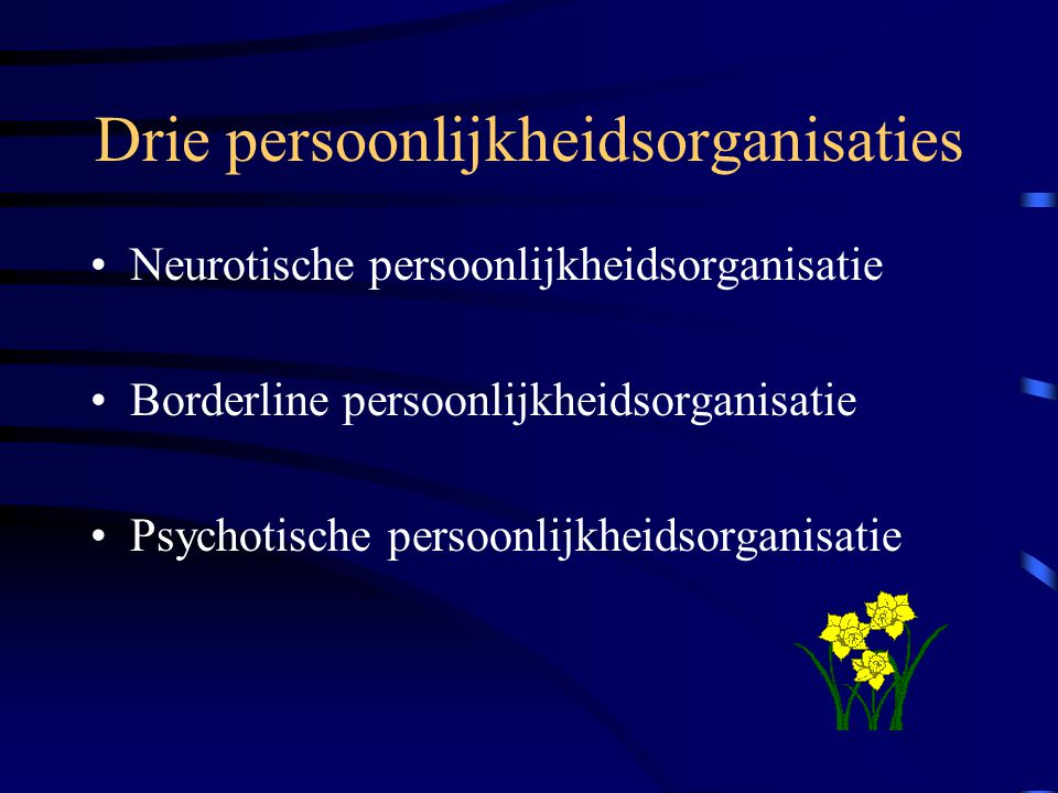 Drie persoonlijkheidsorganisaties